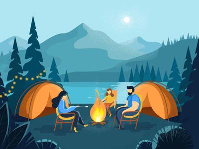 Camping at night flat style cartoon fire family summer summer camp camping background art textured landscape dots illustartion design adobe illustrator vector flat 2d