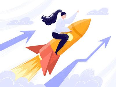 Who run the world?! you can motivation rocket girl power woman power businesswoman business woman flat style dots art textured design illustartion adobe illustrator vector flat 2d
