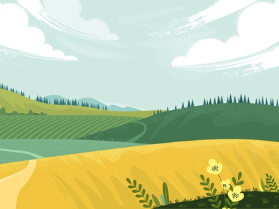 Countryside landscape grass spring summer background design sky fields rural country village countryside landscape background illustration textured design illustartion adobe illustrator vector flat 2d