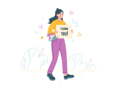 Thank you! character thankyou woman dots flat style art textured design illustartion adobe illustrator 2d vector flat