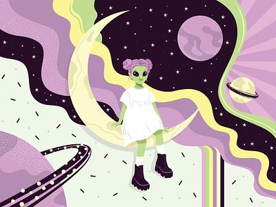 Little alien on the moon. flat style art textured design illustartion adobe illustrator 2d vector space moon flat girl alien