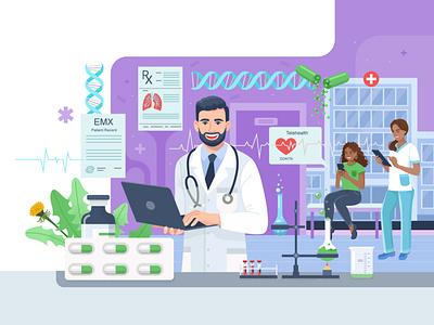 Medical application healthcare health clinic doctor app design medical illustration flat style illustartion adobe illustrator 2d vector flat