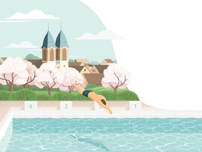Sweeming pool sweem pool sweeming pool sweeming pool landscape illustration flat style design illustartion adobe illustrator 2d vector flat