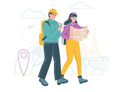 Travelers point map illustration illustrator art flat style textured illustartion adobe illustrator 2d vector flat travel agency paris man woman travel