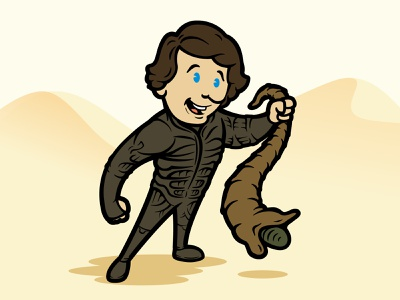 Six Fan Arts - Paul Atriedas cartoon retro adobe illustrator fantasyart fantasy scifi scifiart dune sixfanarts illustrator art illustration design vector