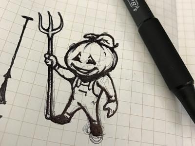 Pumpkin Farmer Sketch drawing illustrator logo art design illustration