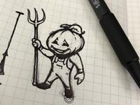Pumpkin Farmer Sketch