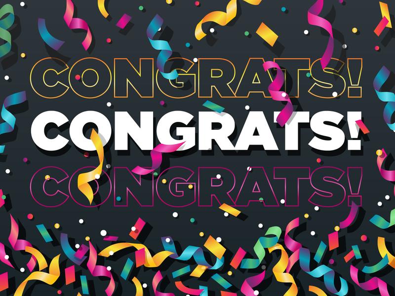 Congrats! congratulations pink yellow blue illustration green colorful illustrator celebrate