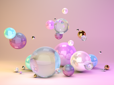 Unicorn Christmas candy sphere colorful reflection gradient c4d 3d