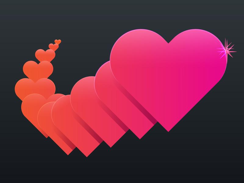 Hearts heart orange pink illustration illustrator colorful gradient