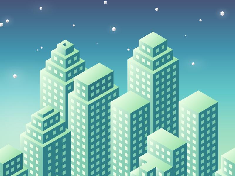 City at night illustration gradient illustrator blue green isometric