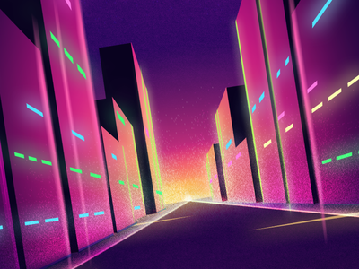 Citylights pink colorful 80s