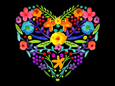 Valentine 2018 watercolor flowers heart valentine