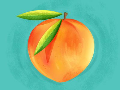 Peach colorful photoshop illustrator turquoise green leaves orange bright fruit