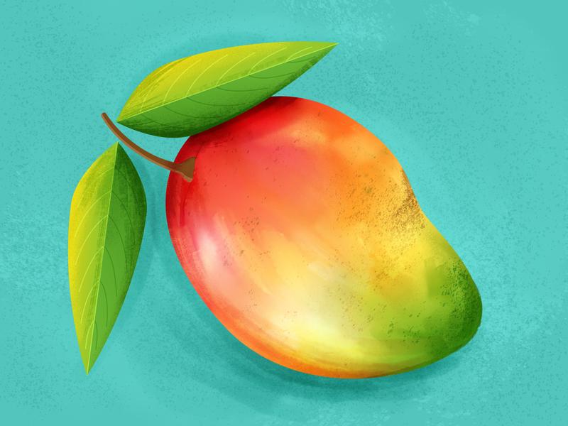 Mango illustration food gradient green colorful photoshop illustrator fruit