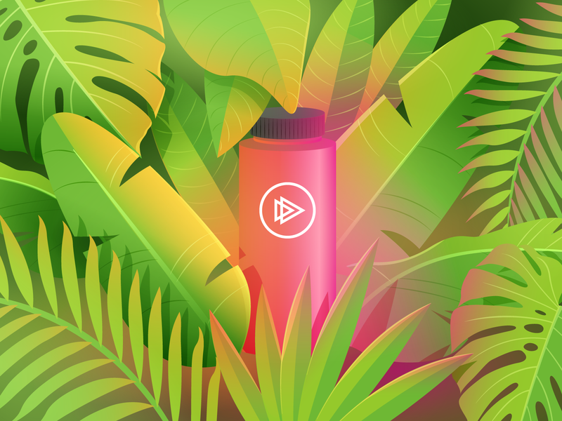 Tropical Meetups palms glow tropical leaves tropical pink illustration green colorful illustrator gradients gradient