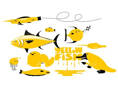 yellow fish for fun nutrition food tuna sealife sea ocean fishing yellow platypus fish branding colour fantasy animal dribbble mascot illustration design cartoon character