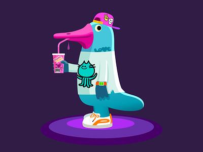 Pulumipus teen tech watch sneakers drink baseball hat teen youth platypus branding colour fantasy animal dribbble mascot illustration design cartoon character