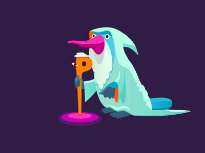 Platysage wizard wise platypus branding colour fantasy animal dribbble mascot illustration design cartoon character