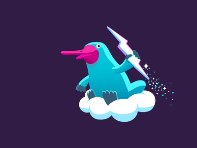 Thundr plat code tech cloud thunder platypus branding colour fantasy animal dribbble mascot illustration design cartoon character