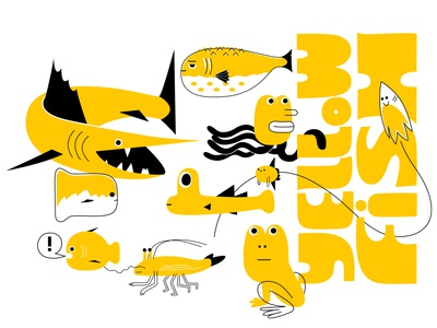 big pond life marlin sashimi sushi fugu sealife food shrimp frog fish branding colour fantasy animal dribbble mascot illustration design cartoon character