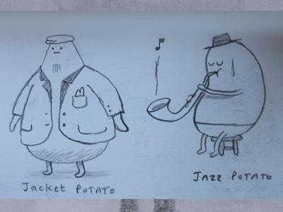 jazz potato music musician sax jacket vegetable potato branding fantasy dribbble mascot illustration design cartoon character