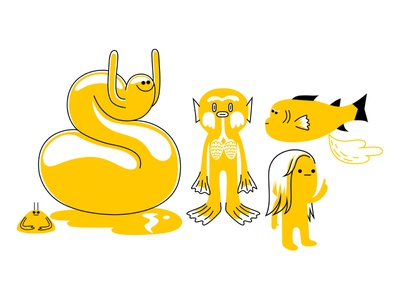 The odd ones out yellow amphibian alien fish branding colour fantasy animal dribbble mascot illustration design cartoon character