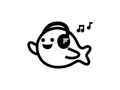 Fresh Sea bass tech electronics headphones edm house music beats sound dj music fish logo branding fantasy animal dribbble mascot illustration design cartoon character