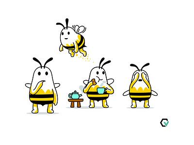 Autify.com Beeta version colour logo insect flying beverage tea bee ui branding fantasy animal dribbble mascot illustration design cartoon character