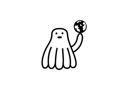 Octopaedal holding the planet earth animal octopus earth globe branding dribbble mascot illustration design cartoon character