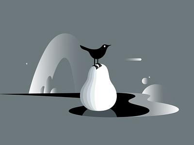 bird on fruit environmental ecology wildlife fantasy earth planets space bird twitter logo branding dribbble mascot illustration design cartoon character