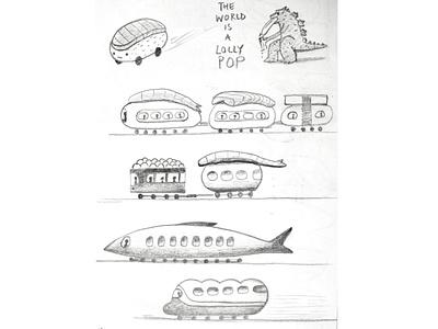 more sushi japan monster godzilla transport trains dribbble illustration design cartoon character