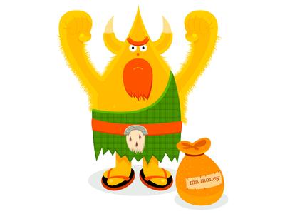 Ma Money simonox idokungfoo money beard tartan scottish green adventure mascot character cartoon staring