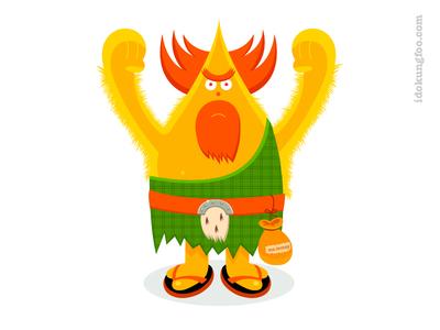 Highland Thing tartan money scottish mascot cartoon illustration design character simon oxley