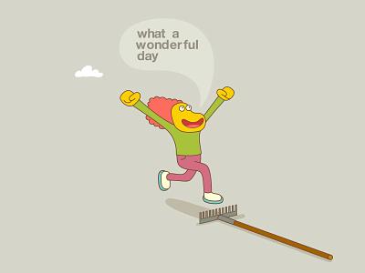 Wonderful Day cloud people speaking running positivity happiness garden rake drawing illistration