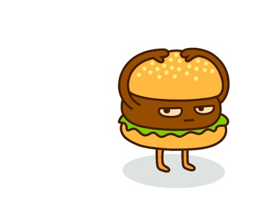 Hold On To Your Bun mascot character lettuce lunch snack carnivore meat beef fast food food bun hamburger illustration