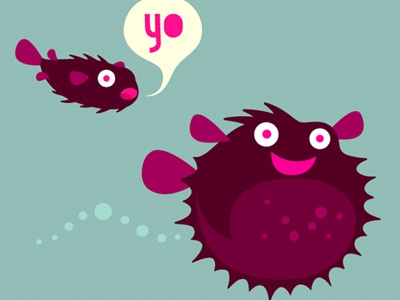 Bitly mascot Redesign simonox character cartoon eye fish speaking bitly istockphoto purple