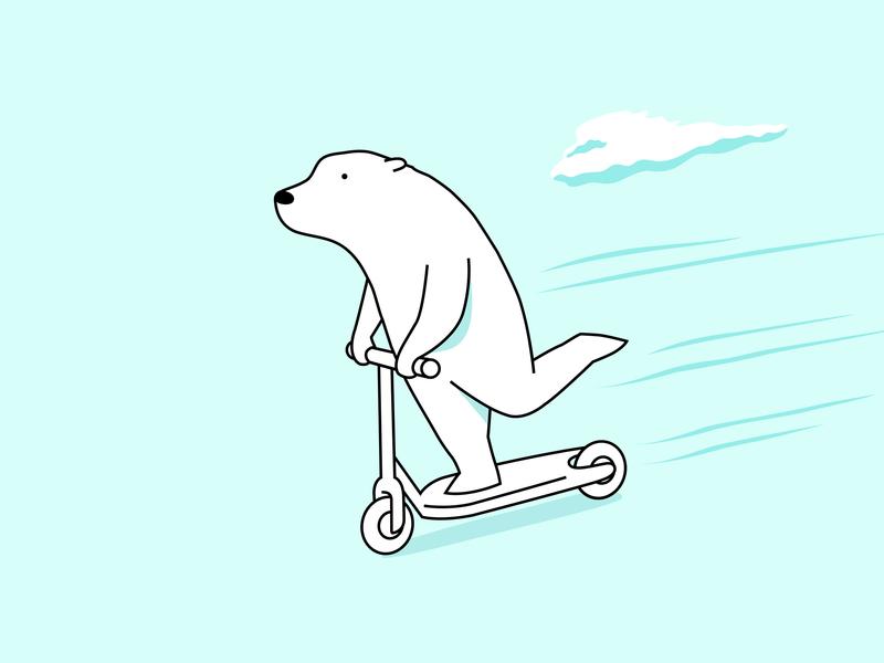 Leisure Time commute transport leisure scooter bear polar bear branding colour fantasy animal dribbble illustration mascot design cartoon character