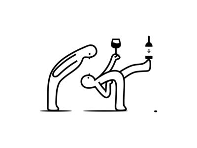 office party wine glass wine bottle drink alcohol grape wine branding vector dribbble simonox illustration mascot design cartoon character