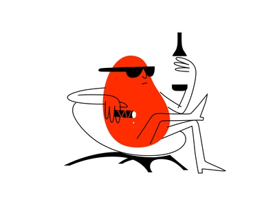 a good year chair cigar wine bottle alcohol wine branding dribbble illustration mascot design cartoon character