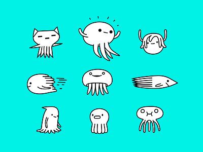 \_( • - • )_/ animals cat octopus jelly fish fish monster colour fantasy animal dribbble illustration mascot design cartoon character