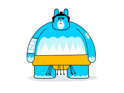 Sumonimal® yellow blue bunny rabbit martial arts japan japanese asian wrestler sumo branding colour fantasy animal dribbble illustration mascot design cartoon character