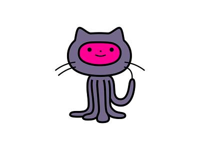 Git utd tech code octocat githb branding colour fantasy animal dribbble illustration mascot design cartoon character