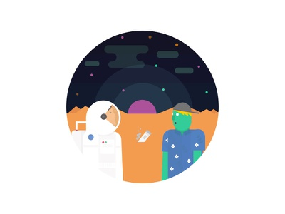The Meeting sky ship planet visor character vector illustration design explore suit space spaceman