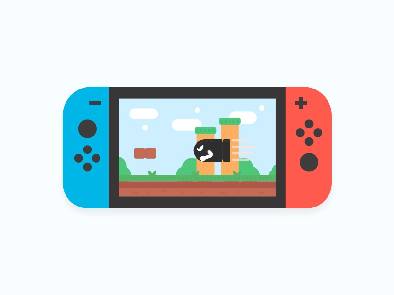 Day 96 - Gadget world illustration landscape bullet console nintendo switch gaming mario gadget daily