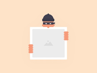 Image Thief design character stole sneak bandit illustration steal image thief