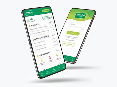 Aplicativo Unimed POA green saúde ui ux designs ui redesign health design app aplicativo