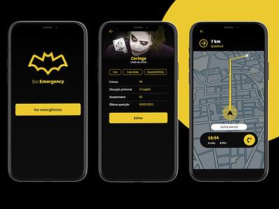 Bat Emergency criminal gps bat gang dark theme gangster police ux ui ux aplicativo emergency app ui coringa batman