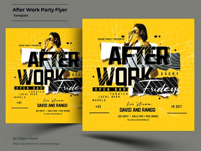 After Work Party Flyer Template invitation download graphic design yellow urban event dj birthday creative girls night after work advertisement poster layout photoshop nightclub psd flyer template party flyer