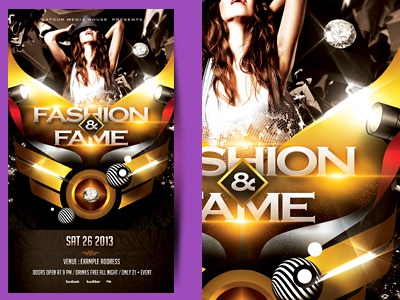 Fashion and Fame Party Flyer dj flyer poster advertisement shapes satgur abstract flyer nightclub upscale layout golden flyer fashion and fame fashion flyer